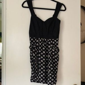 Anthropologie dark navy print dress sz S